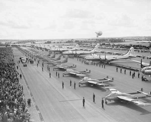 Her Majesty Queen Elizabeth II inspecting aircraft and crews during the Coronation Review, RAF Odiham, July 1953
