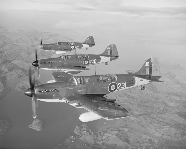 Fairey Firefly FR.4 aircraft (VH133, TW726 & TW730) of 816 Squadron RAN, flying in formation from Eglinton, 3 December 1948