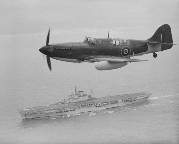 Fairey Firefly IV over HMS Illustrious 18 March 1947