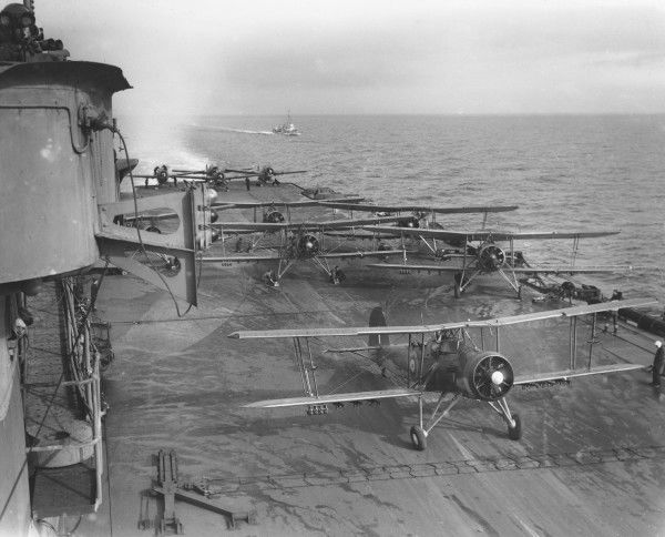 Fairey Swordfish I aircraft of 810 Sqn with Grumman Martlets in the background, HMS Illustrious, 1942