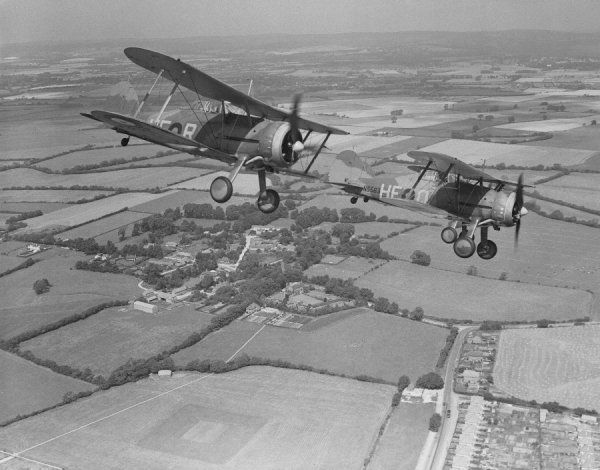 Gloster Gladiator I aircraft of 605 Squadron RAF, Manston, 14 August 1939