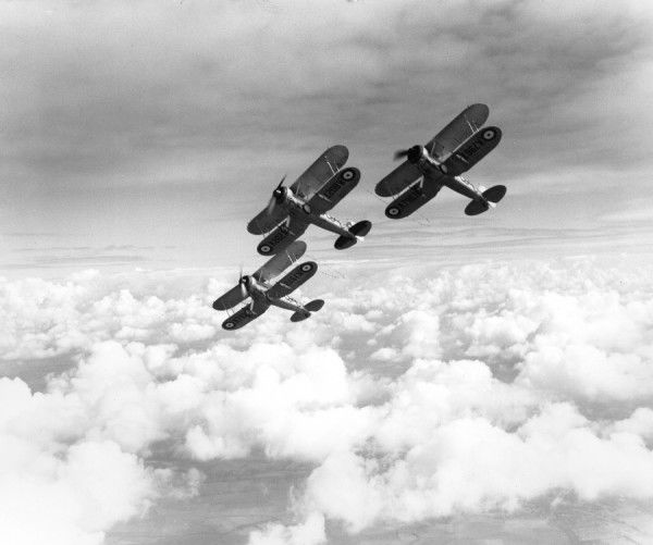 Gloster Gladiator I aircraft of 87 Squadron, tied together in formation, flying from RAF Debden, 1938
