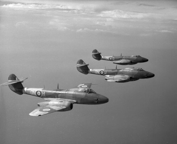 Gloster Meteor F.3 aircraft (EE400, EE393 & EE366 ) of 56 Squadron RAF in flight from Bentwaters, 19 July 1946