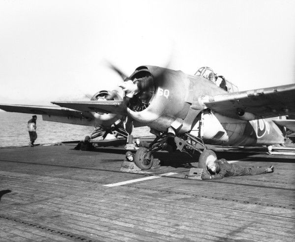 Grumman Wildcat V (JV445) of 882 Squadron waiting to take off on HMS Searcher, 1944