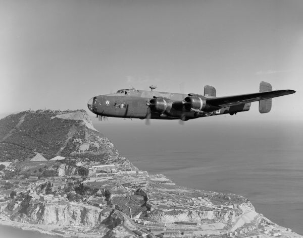 Handley Page Halifax Met.6 (RG778 XB-B) of 224 Squadron flying over Gibraltar, February 1950