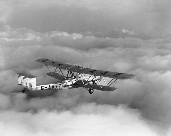 Handley Page HP.42E (G-AAXF) of Imperial Airways in flight after leaving Croydon on the first air mail service to Cape, 20 January 1932