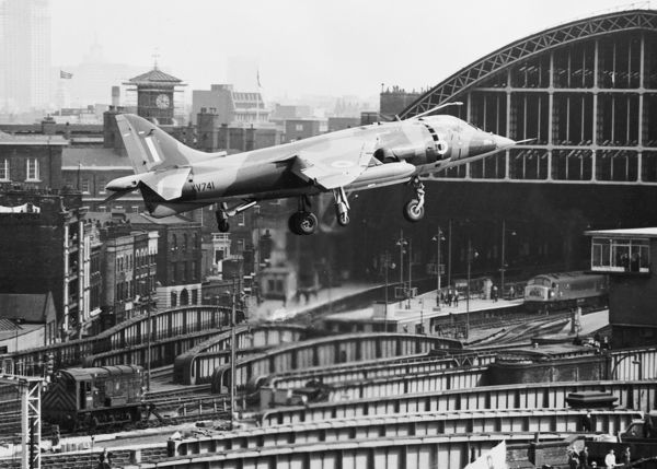Hawker-Siddeley Harrier GR.1 XV741 coming in to land at St. Pancras coal yard during the Daily Mail Trans-Atlantic Air Race May 1969