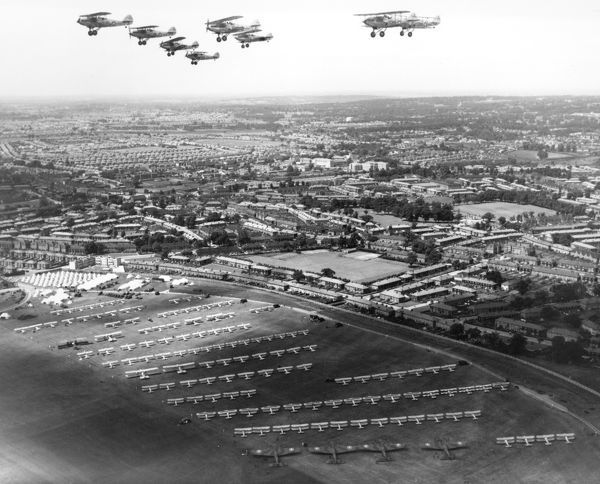 Hawker Hinds of 139 Squadron flying over Hendon during the 1937 RAF Display
