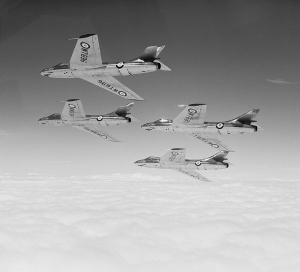 Hawker Hunter F.1 aircraft of 54 Squadron flying from RAF Odiham, June 1955