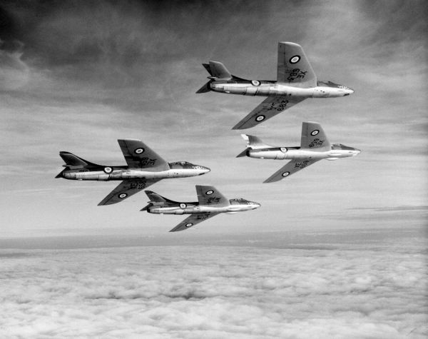 Hawker Hunter F.4 aircraft (XE683, XE659, XE658 & WT764) of 54 Squadron RAF in flight from Odiham, 3 December 1956