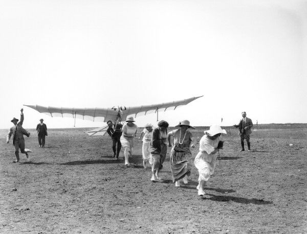 Monsieur Henri Mignet with his glider, the Mignet HM.5, while launching, 1923