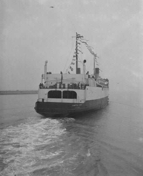 The Southern Railway cross-Channel ferry SS Hampton Ferry leaving Dover with the first boat train service from London to Paris