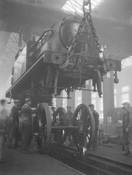 Stroudley D1 Class 0-4-2T locomotive 2219 being overhauled at Southern Railway's Eastleigh Locomotive Works