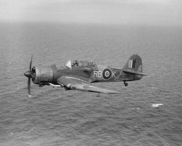 Miles Martinet TT.1 of 776 Squadron FAA in flight over the sea, Ronaldsway, 25 August 1945