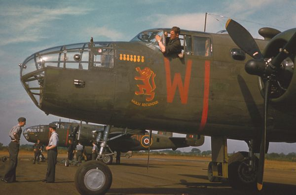 "North American Mitchell II ""Nulli Secundus"" of 180 Squadron showing its nose art, RAF Foulsham 28 July 1943"