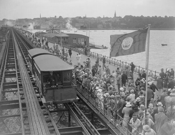 The electric-powered tram on Ryde Pier taking Edward Prince of Wales into Ryde, Isle of Wight, 1926