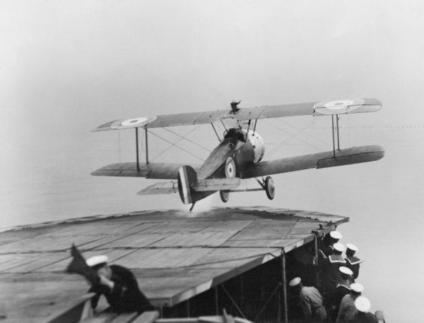 A Sopwith Camel taking off from HMS Pegasus