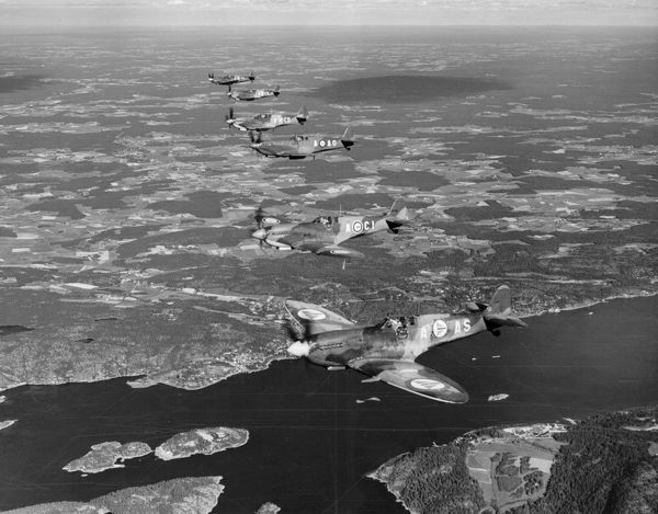 Supermarine Spitfire LF.IX aircraft of the Royal Norwegian Air Force in flight over Oslo Fjord, June 1949