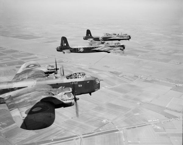 Short Stirling I bombers of 1651 Conversion Unit flying in formation, 29 April 1942