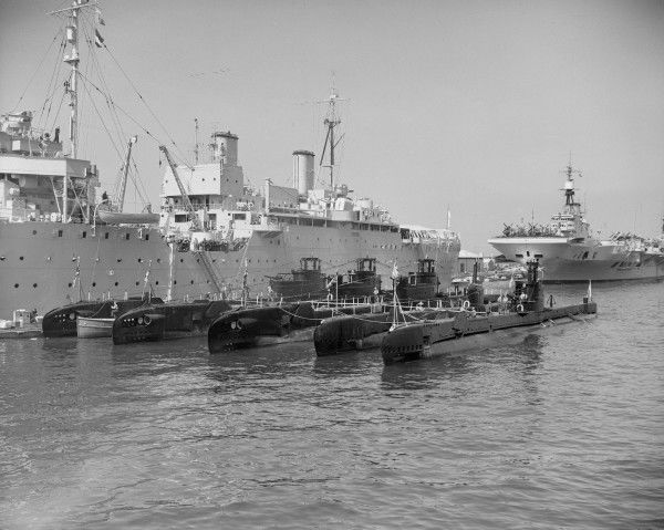 Submarines including HMS Alderney and HMS Alaric, with their depot ship HMS Forth, Gibraltar February 1950
