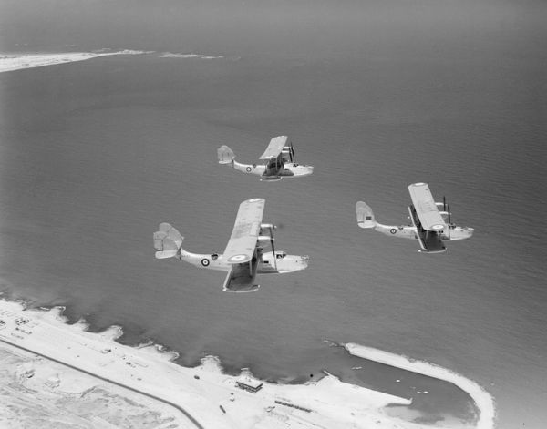 Supermarine Scapa aircraft of 204 Squadron in flight over Alexandria harbour, 1936