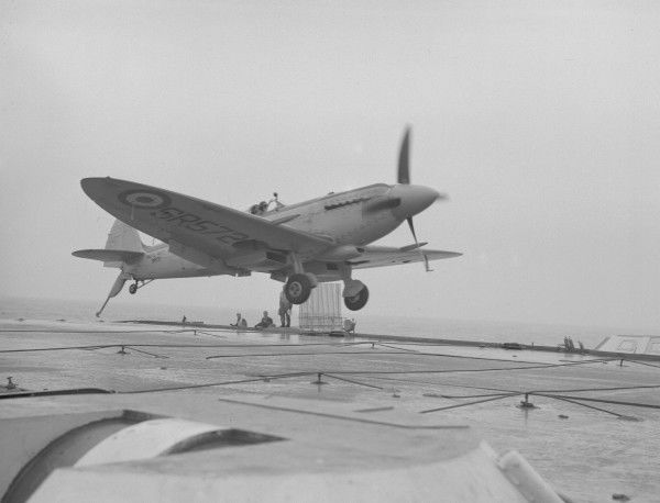 Supermarine Seafire F.15 (SR572) of 1832 Squadron, piloted by Lt Cdr J S Bailey making his 2000th deck landing, HMS Illustrious 24 May 1950