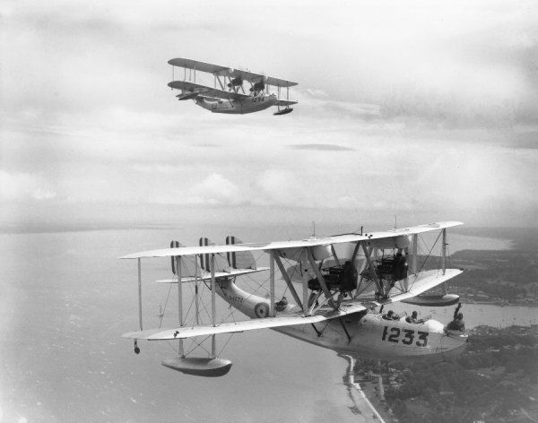 Supermarine Southampton II aircraft of 201 Squadron, RAF, over the Isle of Wight, 1930