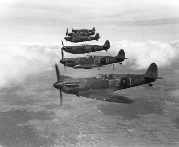 Supermarine Spitfire I aircraft of 65 Squadron RAF, Hornchurch, 1939