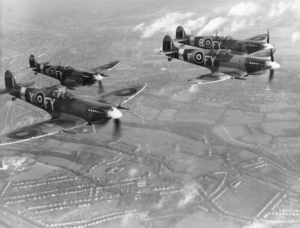 Supermarine Spitfire IX aircraft of 611 Squadron RAF in flight near Biggin Hill, 8 December 1942