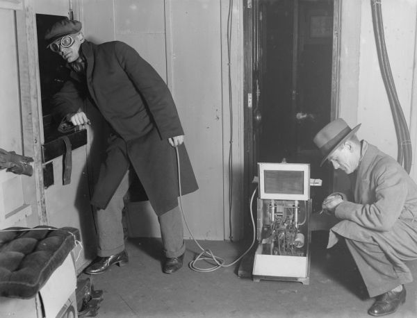 Track testing equipment on an experimental electric train, 17 November 1931