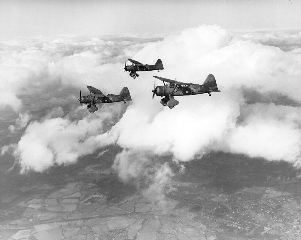Three Westland Lysander II aircraft (N1254, L4753 and N1250) of 225 Squadron Royal Air Force in flight, April 1940