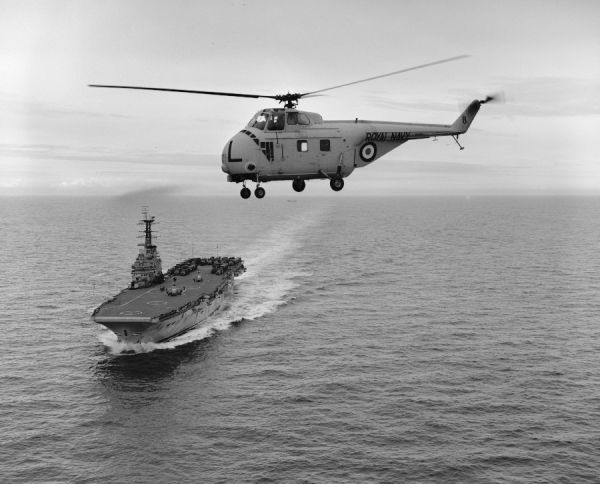 Westland Whirlwind HAS.7 helicopter of 848 Squadron in flight from HMS Bulwark, 1960