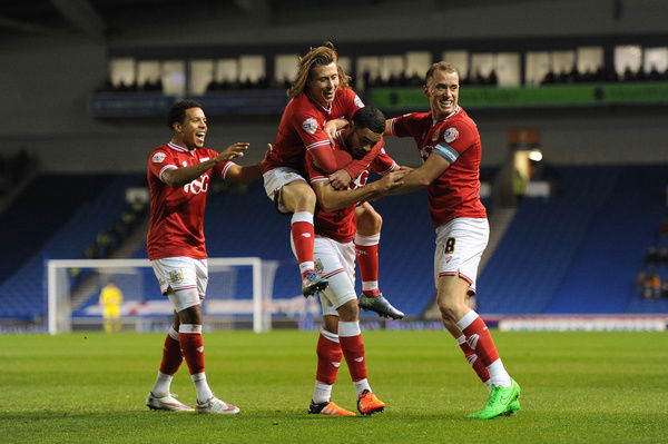 Derrick Williams of Bristol City celebrates his goal with Aaron Wilbraham, Korey Smith and Luke Freeman - Mandatory byline: Dougie Allward/JMP - - 20/10/2015 - FOOTBALL - American Express Community Stadium - Brighton, England - Brighton v Bristol
