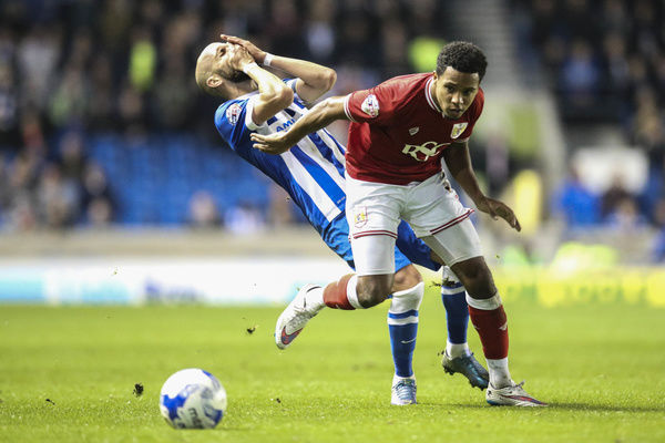 Bristol City's Korey Smith knocks Brighton's Bruno Saltor - Mandatory byline: Jason Brown/JMP - - 20/10/2015 - FOOTBALL - American Express Community Stadium - Brighton, England - Brighton & Hove Albion v Bristol City - Championship