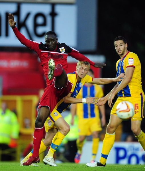 Bristol City's Albert Adomah battles for the high ball - Photo mandatory by-line: Joe Meredith/Josephmeredith- 07/08/2012 - SPORT - FOOTBALL - Championship - Bristol - Ashton Gate Stadium