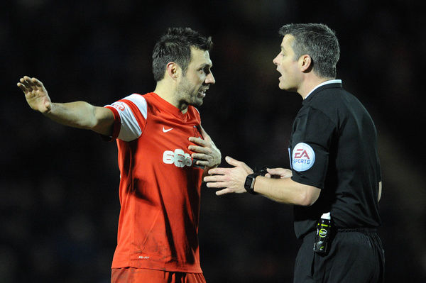 Leyton Orient's Andrea Dossena protests with the referee - Photo mandatory by-line: Dougie Allward/JMP - Mobile: - 03/03/2015 - SPORT - football - Leyton - Brisbane Road - Leyton Orient v Bristol City - Sky Bet League One