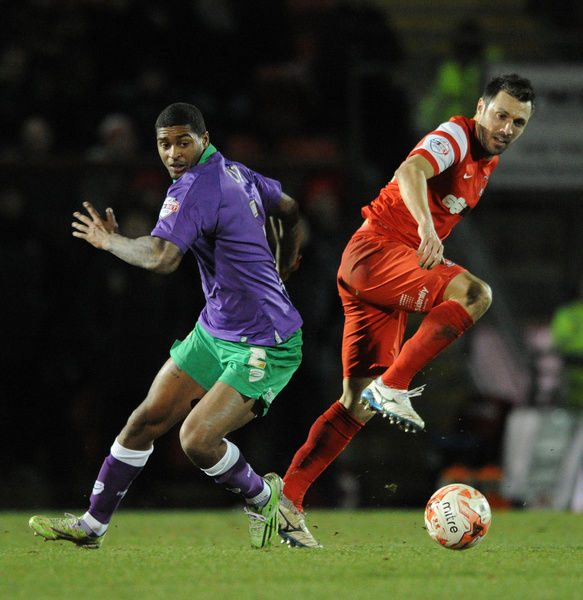 Bristol City's Mark Little jostles for the ball with Leyton Orient's Andrea Dossena - Photo mandatory by-line: Dougie Allward/JMP - Mobile: - 03/03/2015 - SPORT - football - Leyton - Brisbane Road - Leyton Orient v Bristol City - Sky Bet League One