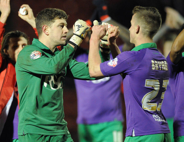 Bristol City Goalkeeper, Frank Fielding celebrates the win with Bristol City's Joe Bryan - Photo mandatory by-line: Dougie Allward/JMP - Mobile: - 03/03/2015 - SPORT - football - Leyton - Brisbane Road - Leyton Orient v Bristol City - Sky Bet