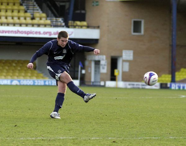 ENGLAND, SOUTHEND, ROOTS HALL - 07/01/08 - RESERVE LEAGUE - SOUTHEND V NORTHAMPTON: DAN HARVEY SHOOTS FROM THE EDGE OF THE BOX. CREDIT: DAVID SCRIVEN