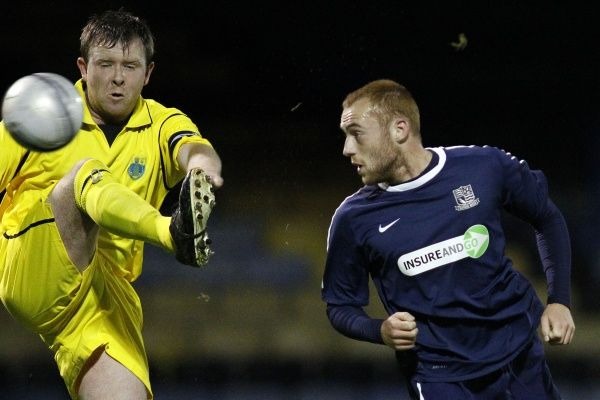Harry Crawford (Southend United) avoids Scott Walsh (Barking) to score his first goal as Southend go 3-1 up - Southend United vs. Barking - Essex Senior Cup Third Round at Roots Hall, Southend - Mandatory Credit: Pixel8 Photos/David Scriven