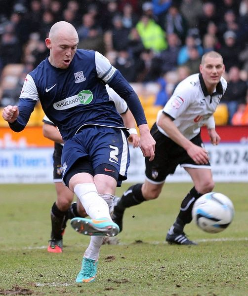 Sean Clohessy (Southend United) scores from the penalty spot to make it 1-0 - Port Vale vs. Southend United - npower League Two at Vale Park, Burslem - 09/03/2013 - Mandatory Credit: Pixel8 Photos/Michael Whitefoot