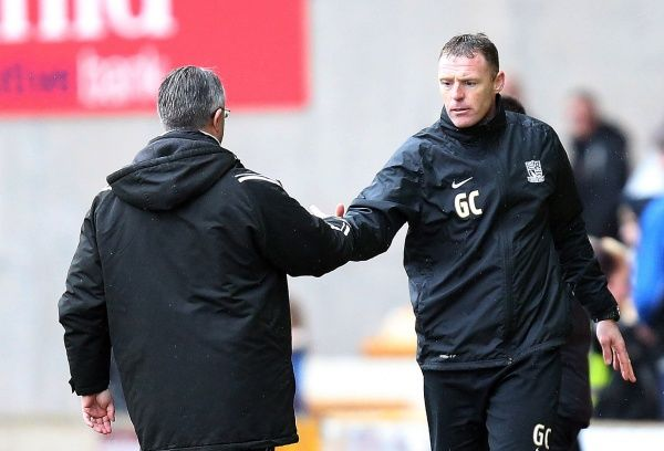 Port Vale manager Micky Adams congratulates Southend United assistant manager Graham Coughlan - Port Vale vs. Southend United - npower League Two at Vale Park, Burslem - 09/03/2013 - Mandatory Credit: Pixel8 Photos/Michael Whitefoot