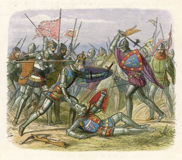 Henry V leads the English to victory at Agincourt, defeating an army four times as large: the French lost 8000, the English 400