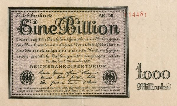 The hyperinflation in the Weimar Republic 1921-1923. Front of a Banknote on 1 000 000 000 000 Mark edited in Berlin 5/11 1923. Date: 1921-1923