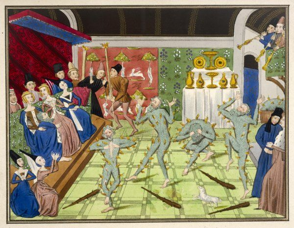 During reign of Charles VI of France - a practical joke goes horribly wrong when a number of men are burnt alive in their costumes at a party
