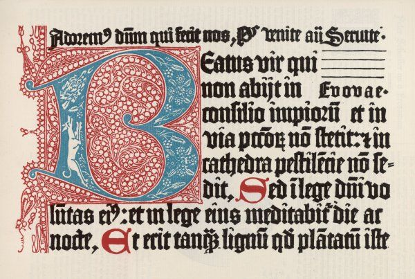 Part of the first page of the Latin Psalter, printed by German printers Schoeffer & Fust