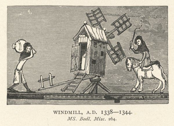 Carrying corn to a windmill in 14th century England