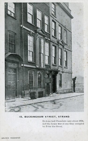 15 Buckingham Street, Strand, London - Charles Dickens had Chambers here about 1834 and the house was at one time occupied by Peter the Great during a visit to the capital