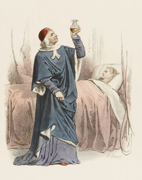 A French doctor examines the urine of his patient, during the reign of Charles VIII
