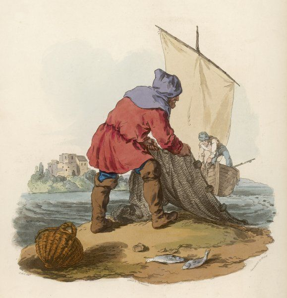 A medieval fishermen draws in his nets
